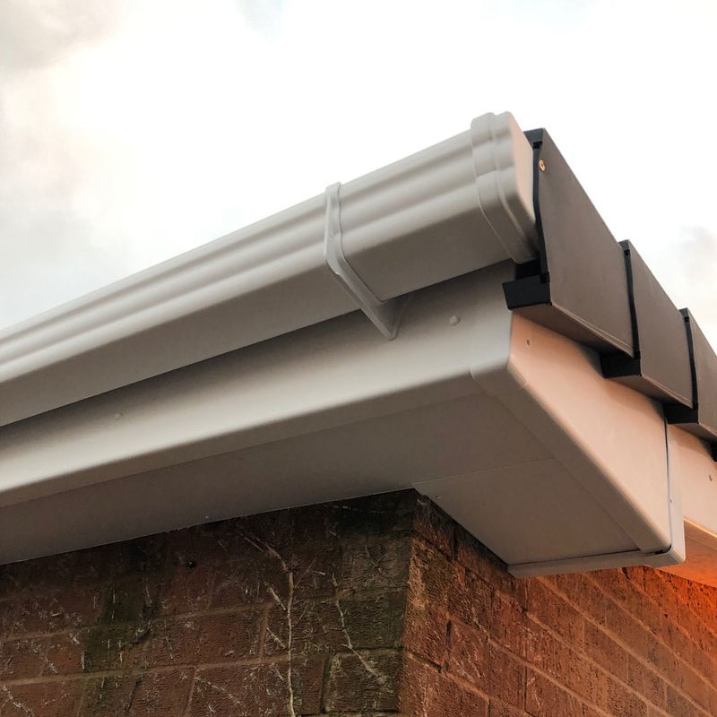 uPVC Fascia and guttering system with box end showing
