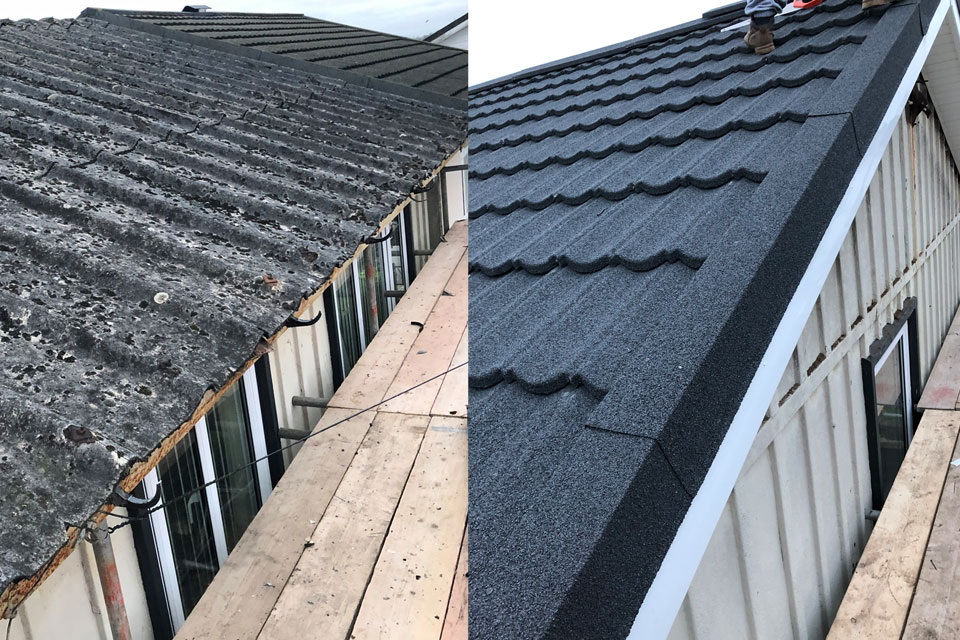 Side by side of roof with and without fascia and guttering